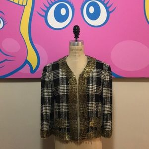Moschino vintage Plaid Wool Jacket Safety Pins